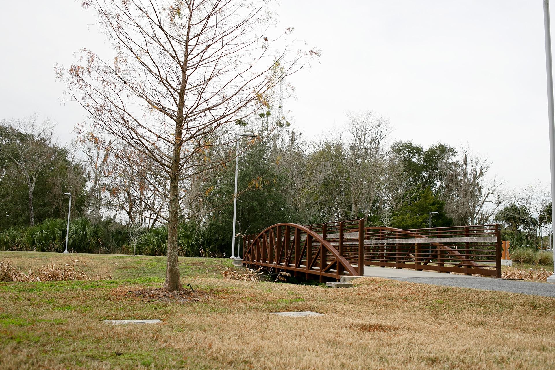 Depot Park bridge over a pond
