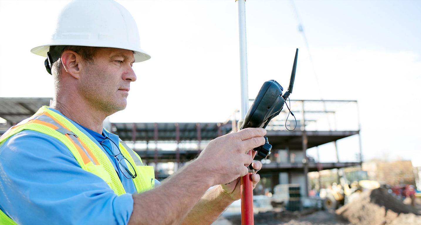 Land Survey of Construction Site in Progress